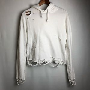 Top Shop white distressed cropped hoodie